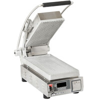 Star PGT7E Pro-Max® 2.0 Single 9 1/2 inch Panini Grill with Grooved Aluminum Plates - Electronic Timer