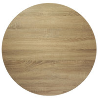 BFM Seating SO36R Midtown 36 inch Round Indoor Tabletop - Sawmill Oak Finish