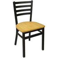 BFM Seating 2160CNTW-SB Lima Metal Ladder Back Side Chair with Natural Wooden Seat