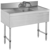 Advance Tabco SLB-31C Lite One Compartment Stainless Steel Bar Sink with Two 12 inch Drainboards - 36 inch x 18 inch