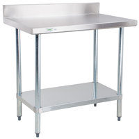 "Regency 30"" x 36"" 18-Gauge 304 Stainless Steel Commercial Work Table with 4"" Backsplash and Galvanized Undershelf"