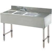 Advance Tabco CRB-43L Lite Three Compartment Stainless Steel Bar Sink with 9 inch Drainboard - 48 inch x 21 inch (Left Side Sink)