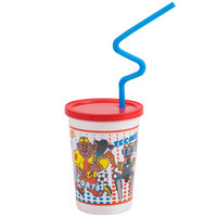 Plastic Kid's Cup with Reusable Lid and Curly Straw - 250 / Case