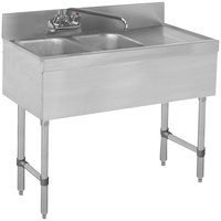 Advance Tabco SLB-42L Lite Two Compartment Stainless Steel Bar Sink with 21 inch Drainboard - 48 inch x 18 inch (Left Side Sink)