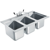 Advance Tabco DBS-3 Three Compartment Stainless Steel Drop-In Bar Sink - 36 inch x 20 inch