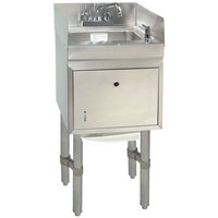 Advance Tabco SC-12-TS-S Stainless Steel Underbar Hand Sink with Soap / Towel Dispensers and Side Splashes - 12 inch x 21 inch