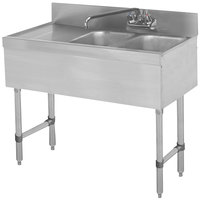 Advance Tabco SLB-42R Lite Two Compartment Stainless Steel Bar Sink with 21 inch Drainboard - 48 inch x 18 inch (Right Side Sink)