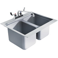 Advance Tabco DBS-2 Two Compartment Stainless Steel Drop-In Bar Sink - 24 inch x 20 inch