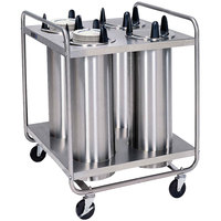 Lakeside 796 Open Base Stainless Steel Adjust-a-Fit Heated Four Stack Plate Dispenser for 4 1/4 inch to 7 1/2 inch Plates