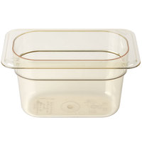 Cambro 94HP150 H-Pan 1/9 Size Amber High Heat Food Pan - 4 inch Deep