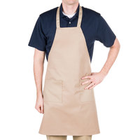Choice Khaki Full Length Bib Apron with Pockets - 34 inchL x 30 inchW