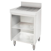 Advance Tabco CRD-30BM Stainless Steel Drainboard Storage Cabinet with Open Front Base and Mid-Shelf - 30 inch x 21 inch