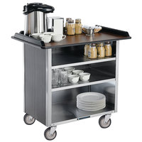 Lakeside 678 Stainless Steel Beverage Service Cart with 3 Shelves and Walnut Vinyl Finish - 40 3/4 inch x 24 inch x 38 1/4 inch