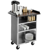 Lakeside 681 Stainless Steel Beverage Service Cart with 3 Shelves and Walnut Vinyl Finish - 58 3/8 inch x 24 inch x 38 1/4 inch