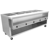 Advance Tabco HDSW-5-240-BS Stainless Steel Heavy-Duty Five Pan Electric Sealed Table with Enclosed Base
