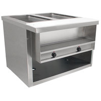 Advance Tabco HDSW-2-BS Stainless Steel Heavy-Duty Two Pan Electric Sealed Table with Enclosed Base - 120V