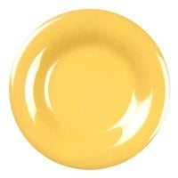 7 7/8 inch Yellow Wide Rim Melamine Plate - 12/Pack