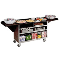 Lakeside 676 Stainless Steel Drop-Leaf Beverage Service Cart with 3 Shelves and Walnut Vinyl Finish - 61 3/4 inch x 24 inch x 38 1/4 inch
