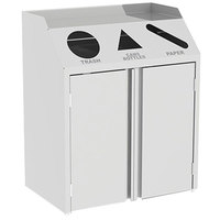 Lakeside 4315 Stainless Steel Refuse / Recycle / Paper Station with Front Access - 37 1/2 inch x 23 1/4 inch x 45 1/2 inch