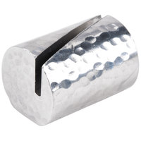 American Metalcraft HCHL2 1 1/4 inch Cylinder Hammered Aluminum Card Holder with Angled Cut
