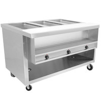 Advance Tabco HDSW-3-BS Stainless Steel Heavy-Duty Three Pan Electric Sealed Table with Enclosed Base