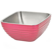 Vollrath 4763475 3.2 qt. Enchanted Pink Stainless Steel Square Beehive Double-Wall Insulated Serving Bowl