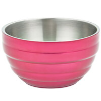 Vollrath 4659075 1.7 qt. Enchanted Pink Stainless Steel Round Beehive Double-Wall Insulated Serving Bowl