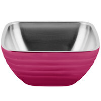 Vollrath 4761975 24 oz. Stainless Steel Double Wall Enchanted Pink Square Beehive Serving Bowl