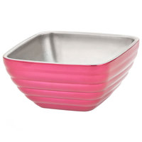 Vollrath 4761975 0.75 qt. Enchanted Pink Stainless Steel Square Beehive Double-Wall Insulated Serving Bowl