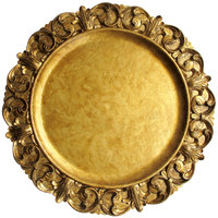 The Jay Companies 14 inch Round Emboss Gold Polypropylene Charger Plate