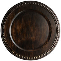 The Jay Companies 14 inch Round Brown Faux Wood Charger Plate