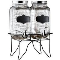 Double 0.8 Gallon Style Setter Blackboard Glass Beverage Dispenser with Metal Stand
