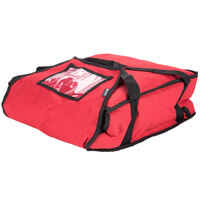 San Jamar PB17 17 inch x 16 1/2 inch x 5 inch Nylon Insulated Red Pizza Delivery Bag