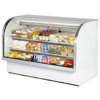 True TCGG-72-LD 72 inch White Curved Glass Refrigerated Deli Case With Stainless Steel Top and Trim - 37.1 Cu. Ft.