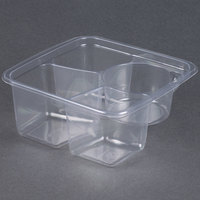 Fabri-Kal Greenware GS6-3W 3-Compartment Clear PLA Compostable Container - 300 / Case