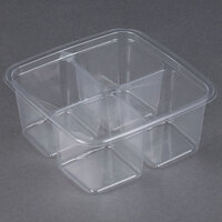 Fabri-Kal Greenware GS6-4 4-Compartment Clear PLA Plastic Compostable Container - 300 / Case