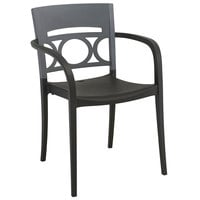 Grosfillex Moon Indoor / Outdoor Stacking Armchair - Titanium Gray Back / Charcoal Seat