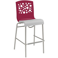 Grosfillex Tempo Indoor Stacking Resin Barstool with Raspberry Back and Linen-Color Seat