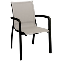 Grosfillex Monte Carlo Outdoor Stacking Armchair - Solid Gray / Volcanic Black
