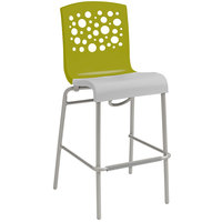 Grosfillex Tempo Indoor Stacking Resin Barstool with Fern Green Back and White Seat