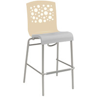 Grosfillex Tempo Indoor Stacking Resin Barstool with Beige Back and Taupe Seat
