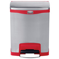 Rubbermaid 1901988 Slim Jim Stainless Steel Red Accent Front Step-On Trash Can with Single Rigid Plastic Liner - 8 Gallon