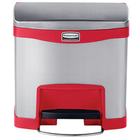 Rubbermaid 1901983 Slim Jim Stainless Steel Red Accent Front Step-On Trash Can with Single Rigid Plastic Liner - 4 Gallon
