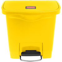 Rubbermaid 1883572 Slim Jim Resin Yellow Front Step-On Trash Can - 4 Gallon