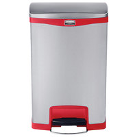 Rubbermaid 1901995 Slim Jim Stainless Steel Red Accent Front Step-On Trash Can with Single Rigid Plastic Liner - 13 Gallon