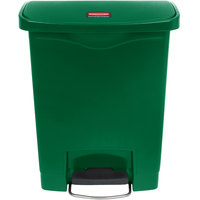Rubbermaid 1883582 Slim Jim Resin Green Front Step-On Trash Can - 8 Gallon