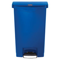 Rubbermaid 1883593 Slim Jim Resin Blue Front Step-On Trash Can - 13 Gallon