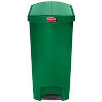 Rubbermaid 1883589 Slim Jim Resin Green End Step-On Trash Can with Rigid Plastic Liner - 24 Gallon