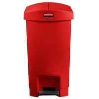 Rubbermaid 1883565 Slim Jim Resin Red End Step-On Trash Can with Rigid Plastic Liner - 8 Gallon