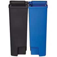Rubbermaid 1902009 Slim Jim Black and Blue Dual Waste and Recycling Plastic Liner Set for 13 Gallon Stainless Steel End Step-On Trash Can